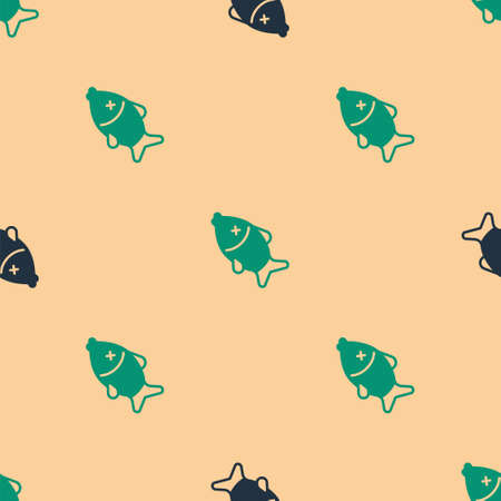 Green and black Dead fish icon isolated seamless pattern on beige background. Vector