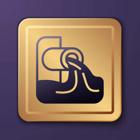 Purple Wastewater icon isolated on purple background. Sewer pipe. From the pipe flowing liquid into the river. Gold square button. Vector