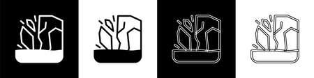 Set Glacier melting icon isolated on black and white background. Vector