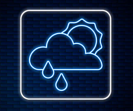 Glowing neon line Cloud with rain and sun icon isolated on brick wall background. Rain cloud precipitation with rain drops. Vector