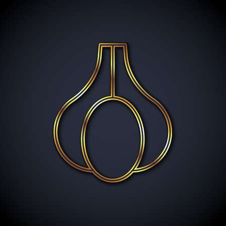 Gold line Garlic icon isolated black background. Vector