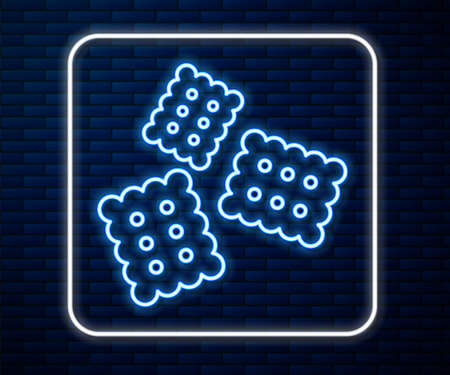 Glowing neon line Cracker biscuit icon isolated on brick wall background. Sweet cookie. Vector Illustration