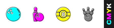 Set Bowling ball, pin and, Billiard  icon. Vector Vettoriali