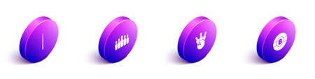 Set Isometric Billiard cue, Bowling pin, and ball icon. Vector