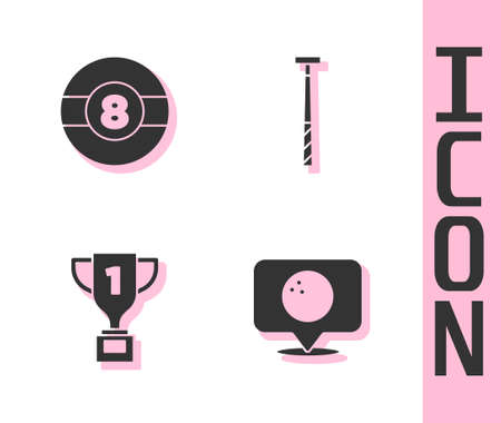 Set Location with bowling ball, Billiard, Award cup and cue icon. Vector
