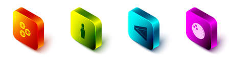 Set Isometric Billiard ball, Bowling pin, triangle. Vector.