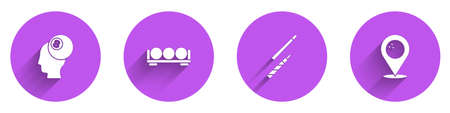 Set Billiard ball, balls on stand, cue and Location with bowling icon with long shadow. Vector