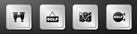 Set Binoculars, Golf label, course layout and sport club icon. Silver square button. Vector