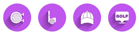 Set Golf sport club, with ball, Baseball cap and label icon with long shadow. Vector Vettoriali