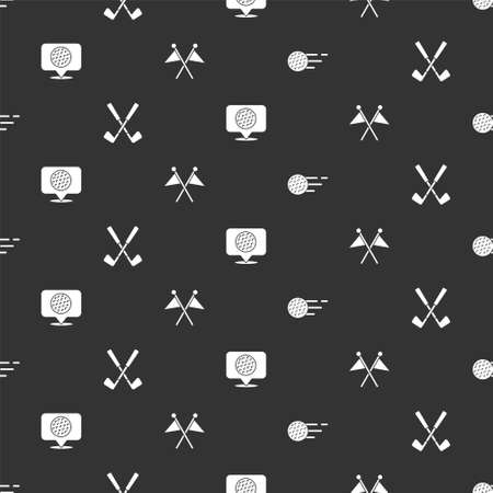 Set Golf ball, Crossed golf club, label and flag on seamless pattern. Vector Vettoriali