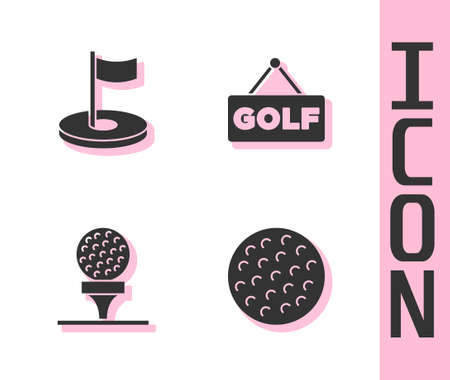 Set Golf ball, hole with flag, on tee and label icon. Vector