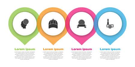 Set Golf ball, Baseball cap, and club. Business infographic template. Vector