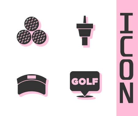 Set Golf label, ball, Sun visor cap and tee icon. Vector