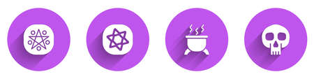 Set Pentagram in a circle, Tarot cards, Witch cauldron and Skull icon with long shadow. Vector Vettoriali