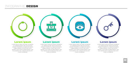 Set Ouroboros, Bottle with potion, Masons and Old key. Business infographic template. Vector