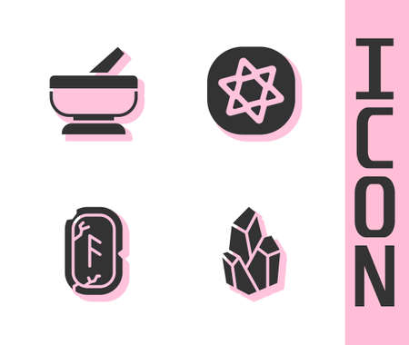Set Magic stone, Mortar and pestle, runes and Tarot cards icon. Vector