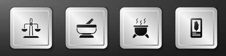 Set Libra zodiac, Mortar and pestle, Witch cauldron and Tarot cards icon. Silver square button. Vector