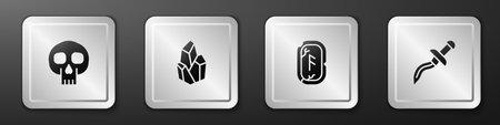 Set Skull, Magic stone, runes and Dagger icon. Silver square button. Vector Vettoriali