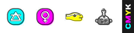 Set Air element, Venus, Snake and Poison in bottle icon. Vector