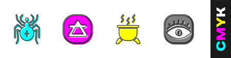 Set Spider, Air element, Witch cauldron and Masons icon. Vector