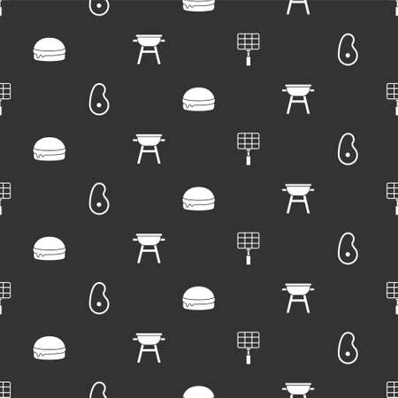 Set Barbecue steel grid, Steak meat, Burger and grill on seamless pattern. Vector