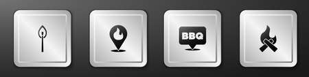 Set Burning match with fire, Location flame, Barbecue and Campfire icon. Silver square button. Vector Vettoriali