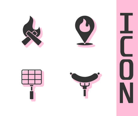 Set Sausage on the fork, Campfire, Barbecue steel grid and Location with flame icon. Vector Vettoriali
