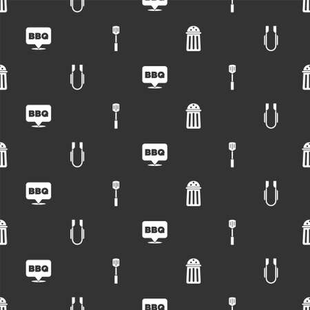 Set Salt, Meat tongs, Barbecue and spatula on seamless pattern. Vector Vettoriali