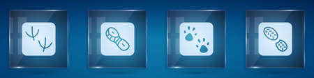 Set Dove paw footprint, Human footprints shoes, Paw. Square glass panels. Vector