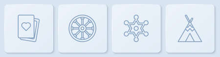 Set line Deck of playing cards, Hexagram sheriff, Old wooden wheel and Indian teepee or wigwam. White square button. Vector Vector Illustratie