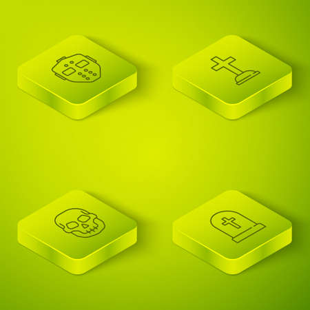 Set Isometric Tombstone with cross, Skull, and Hockey mask icon. Vector Illustration