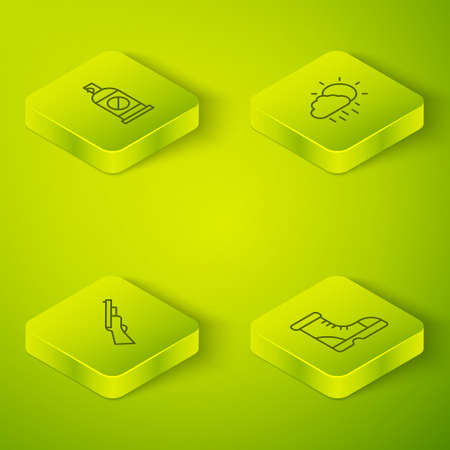 Set Isometric line Cloud with rain, Hunting gun, Hunter boots and Spray against insects icon. Vector