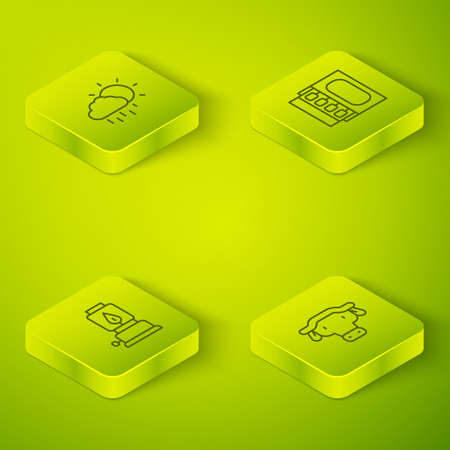 Set Isometric line Matchbox and matches, Camping lantern, African buffalo head and Cloud with rain icon. Vector