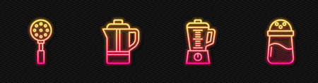 Set line Blender, Spatula, Teapot and Salt. Glowing neon icon. Vector