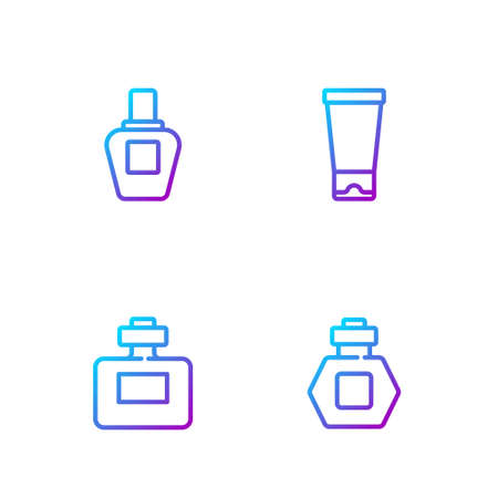 Set line Perfume, , and Cream or lotion cosmetic tube. Gradient color icons. Vector