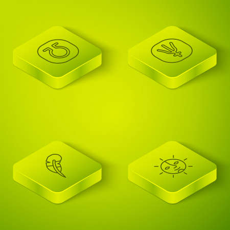 Set Isometric line Neptune planet, Feather pen, Sun and Life icon. Vector