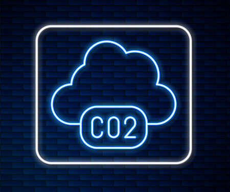 Glowing neon line CO2 emissions in cloud icon isolated on brick wall background. Carbon dioxide formula, smog pollution concept, environment concept. Vector