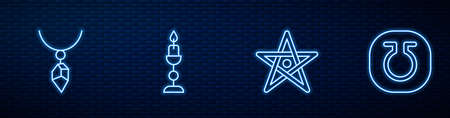 Set line Pentagram, Necklace with crystal, Burning candle and Life. Glowing neon icon on brick wall. Vector
