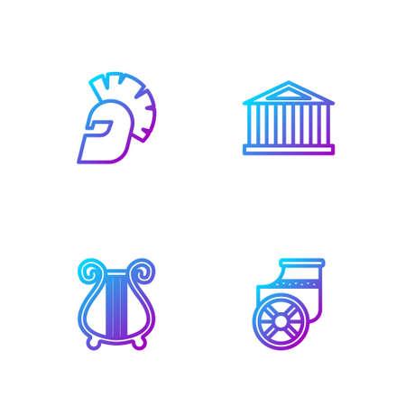 Set line Ancient chariot, lyre, Greek helmet and Parthenon. Gradient color icons. Vector