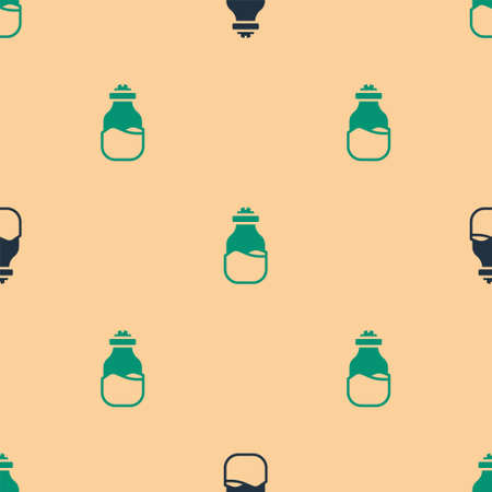 Green and black Spice in can icon isolated seamless pattern on beige background. Seasoning collection. Spice, condiments in a glass can. Vector