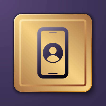 Purple Telephone 24 hours support icon isolated on purple background. All-day customer support call-center. Full time call services. Gold square button. Vector