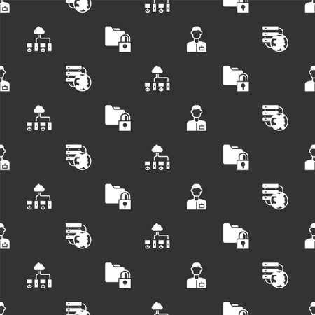 Set Analyst engineer, Network cloud connection, Computer network and Folder and lock on seamless pattern. Vector Vektoros illusztráció