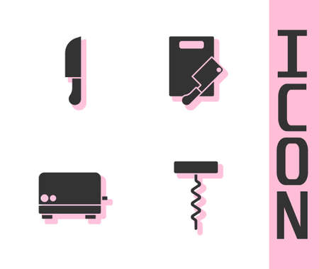 Set Wine corkscrew, Knife, Toaster and Cutting board and meat chopper icon. Vector