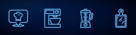 Set line Blender, Chef hat with location, Electric mixer and Cutting board. Glowing neon icon on brick wall. Vector Vecteurs