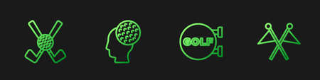 Set line Golf sport club, Crossed golf with ball, and flag. Gradient color icons. Vector