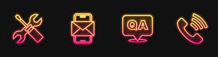 Set line Question and Answer, Screwdriver wrench spanner, Mobile envelope and Telephone 24 hours support. Glowing neon icon. Vector