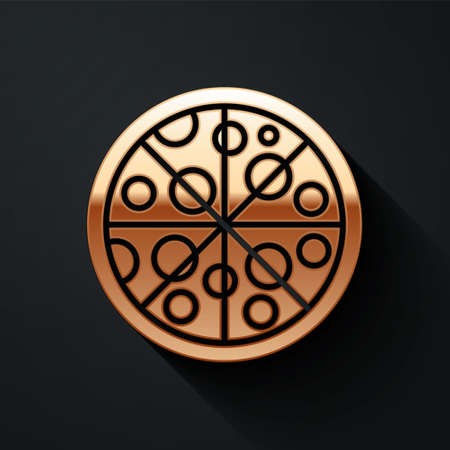 Gold Pizza icon isolated on black background. Fast food menu. Long shadow style. Vector Векторная Иллюстрация