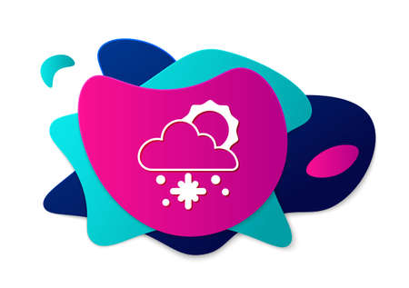 Color Cloud with snow and sun icon isolated on white background. Cloud with snowflakes. Single weather icon. Snowing sign. Abstract banner with liquid shapes. Vector