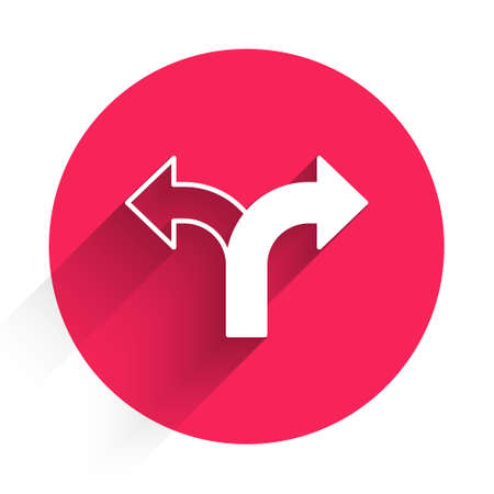 White Road traffic sign. Signpost icon isolated with long shadow. Pointer symbol. Isolated street information sign. Direction sign. Red circle button. Vector Ilustração Vetorial