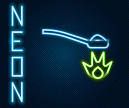 Glowing neon line Heroin in a spoon icon isolated on black background. Concept of drug addiction and dependence from the narcotic. Junkie lifestyle. Colorful outline concept. Vector Illustration Ilustración de vector